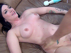 Tattooed cutie Andy San Dimas gets her hands around a long stiff shaft