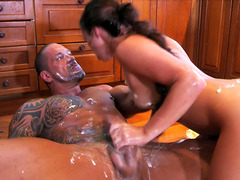 Tattooed guy finally gets to fuck hot Tiffany Doll until he cums