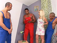 Interracial Gangbang With The Blonde Cutie Cindy Dollar