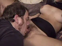 Cute girlfriend with a hairy bush and lactating nipples gets fucked hard