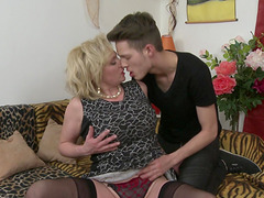 Young stud with a big dick takes care of mature Josefa