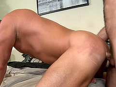 Sexy gay Jake Jennings blowing friend's cock before hard anal sex