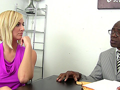 Blonde girl Kate England takes care of a big black cock