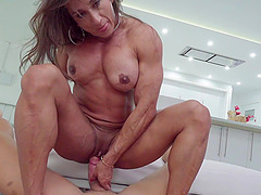 Muscular Latina MILF Karyn Bayres gets multiple cum shots in her mouth