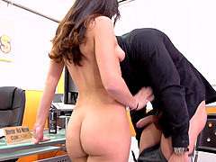Latina sporty babe Emilio Ardana swllows cum after riding her boss