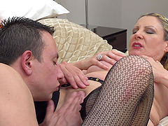 Mature blonde in stockings Valentina pounded missionary style
