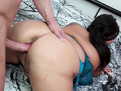 Mature brunette BBW Katie Coquard fucked doggy style hardcore