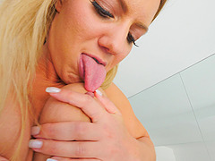 Horny blonde MILF Candice licks her erect pink nipples