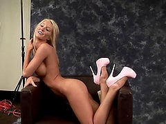 Ashley Johnson the sexy blonde in high heels shows her beauties