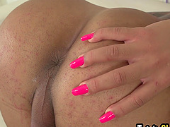 Horny big boobs and big ass shemale named Melissa Azuaga enjoying solo masturbation