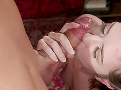 Irresistible diva Aspen Brooks gives the best blowjob before sex