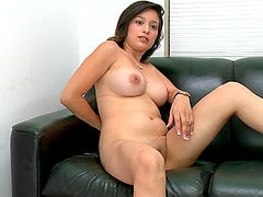 Chubby brunette Linda Lay plays with her pussy before getting it fucked