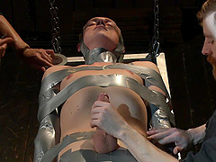 Shy dude gets tied up and brutally tortured with a lot of dick sucking