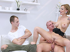 Elen Million enjoys hard fuck with a horny dude while her boyfriend watches