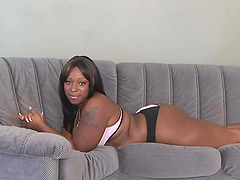 bbw Angel Eyes and Skyy Black use a strapon for the lesbian sex