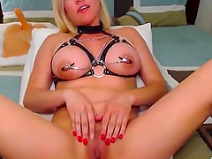 Horny babe with amazing tits rides big dildo on webcam