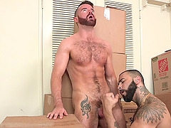 After a blowjob horny gay Brendan Patrick sits on a stranger's penis