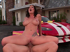 sexy brunette Jayden James craving for hard and long penis on the car