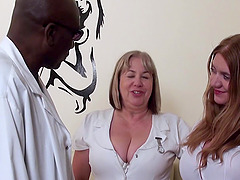New black doctor with huge cock is tried by two hot mature nurses