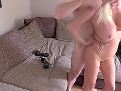 Busty blonde Michelle Thorne ridding a stranger's penis in the room
