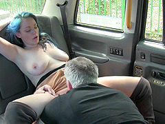 Lovely Jojo gets her shaved pussy licked and pounded in the taxi