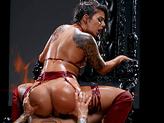 Oiled and sexy Gina Valentina gets her cunt pounded by a horny dude