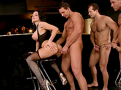 Sex addicted Aletta Ocean gets gangbanged in a bar