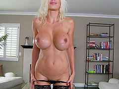 Lewd blonde Puma Swede plays with her pussy in the living room