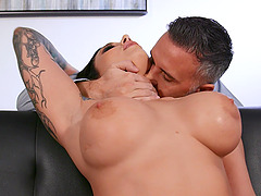 Busty Ivy Lebelle in red lingerie gets a facial after fucking