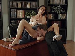 Silvia Saige's horny lover could not get his hands of her in the library