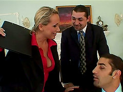 Horny Mandy Bright gets threesomed at the business meeting