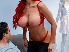 Wild fucking in the office with busty redhead Nicolette Shea