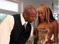 Blond Ebony Slut Bella Moretti Takes a Black Dick in Her Pussy and Ass