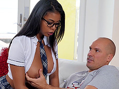 Shy ebony babe Julianna Vega drops her panties to ride a white dick