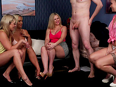 Sexy Anna Joy and her babes laughing at a guy's little pecker