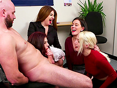 Buff dude with a small pecker gets teased by Bluebell and her friends