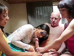 Video of an old guy getting blowjobs by Nikki Blows and her friends