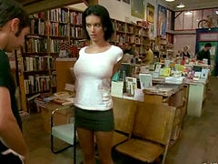 Bailey Brooks gets spanked and fucked in a public library