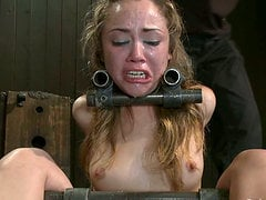 Hot Kristina Rose blows a cock and gets toyed in BDSM vid