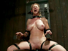 Busty Blonde Girl Suffering Extreme Bondage in BDSM Footage