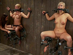 Dominatrix Toy Fucks Two Hot Bounded Babes in Lesbian BDSM