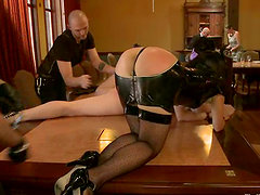 Hot bonded chicks get toyed and spanked at a brunch