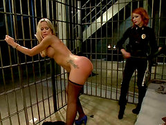 Redhead Cop Elle Alexandra Fucks and Dominates Blonde Inmate Simone Sonay