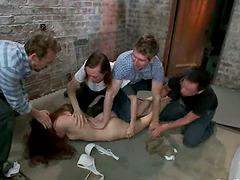 Stunning girl gets toyed and cluster fucked in a dungeon